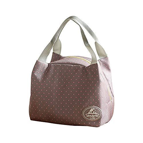 Cdet 1X Lunch Tasche Klein Leicht Kühltasche Isoliertasche zur Arbeit Schule Faltbar Wasserdicht Reissverschluss für Damen (Graue Punkte)