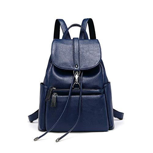Love LIBINI Damen Rucksackhandtaschen Echtes Leder Schultertaschen Wasserdichte Umhängetaschen Einbrecher Shopper Modische Tasche Blau -