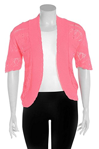 Chocolate Pickle ® Femmes résille Bolero Cardigans Bright Pink