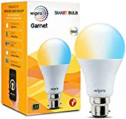 Wipro Wi-Fi Enabled Smart LED Bulb B22 9-Watt (Pack of 1, Shades of White and Yellow) Compatible with Amazon A