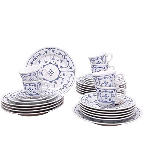 Kahla 410852A75056H Blau Saks | Geschirr-Set Porzellan | Tafelservice 6 Personen blauweiß rund 30 teilig Tellerset + Kaffeeservice Tassen Teller