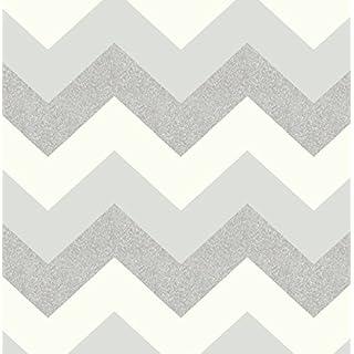 Arthouse 892302 Glitterati Chevron Wallpaper, Platinum, 53 cm x 10.05 m
