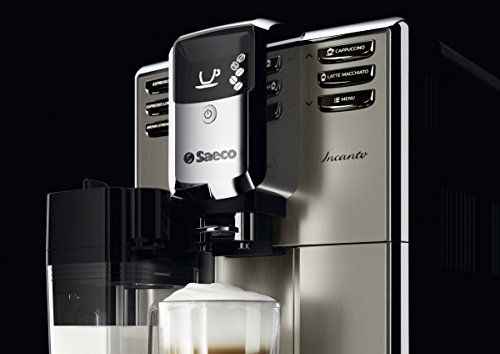 Saeco HD8917/01 - Máquina de café espresso automática con jarra de leche integrada y acabado de acero inoxidable, color negro y metalizado