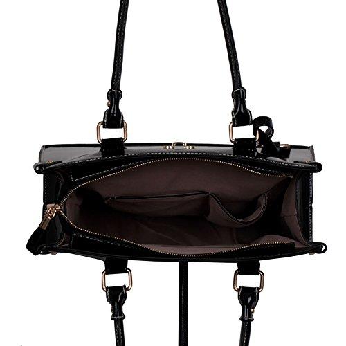 TrendStar Frauen Designer Taschen Patent Schulter Berühmtheit Stil Trage Damen Mode Handtaschen (C - Rot) Schwarz1