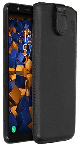 mumbi ECHT Ledertasche für Samsung Galaxy A6+ Tasche Leder Etui (Lasche mit Rückzugfunktion Ausziehhilfe)