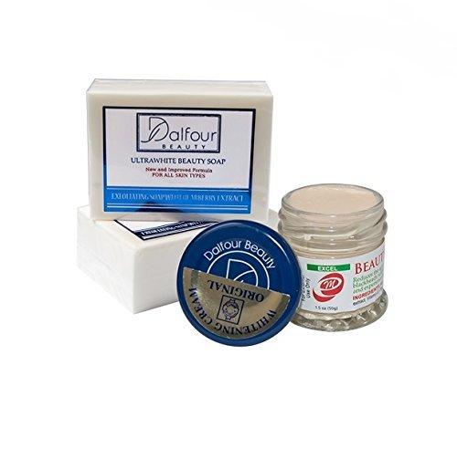 Authentic Dalfour Beauty Gesicht Whitening -Satz mit Ultraweiß Soap & Excel -Creme