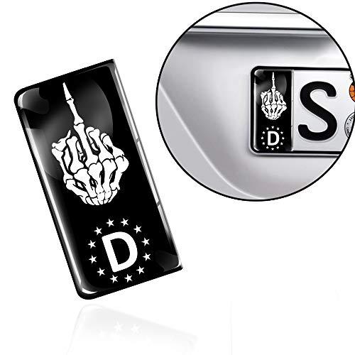 Skino 2 x 3D Gel Silikon Nummernschild Kennzeichen JDM Aufkleber Stickers Tuning Auto Motorrad Skull Schädel Totenkopf Mittelfinger EU QS 14