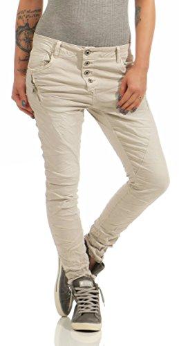 Fashion4Young 11424 LEXXURY Damen Jeans Röhrenjeans Hose Boyfriend Baggy Haremscut Damenjeans Slim-Fit (beige, XL-42) Denim Baggy Jeans