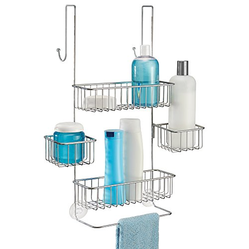 mDesign Bathroom Over Door Shower Organiser for Shampoo, Conditioner, Soap - Silver