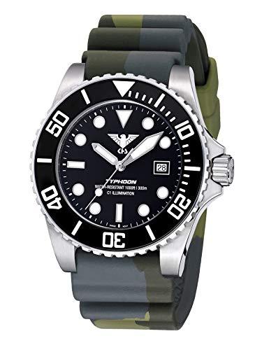 KHS Typhoon Steel KHS.TYS.DC3 - Reloj de Pulsera para Hombre, diseño de Camuflaje, Color Verde