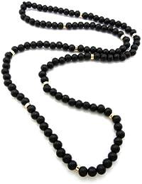 Nouveau collier en billes de bois noires avec joints en métal or XC432BKG