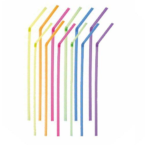 100 Pailles flexibles fluo