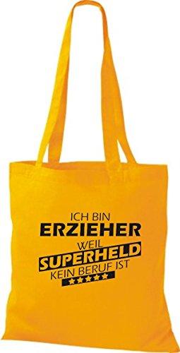 Shirtstown Sac en tissu Ich bin éducateurs, parce que Superheld aucun Occupation est jaune doré