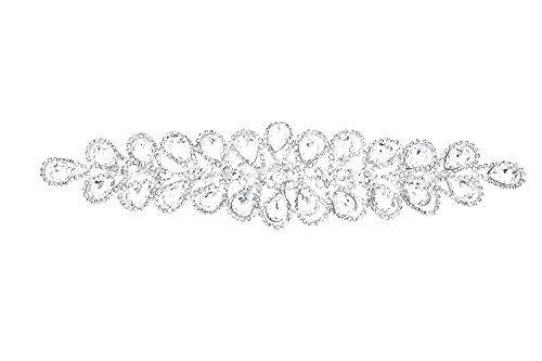 Strassstein Motiv Strass Kristalle Zum aufnähen Applikation Flicken - Perfekt für Hochzeit Braut Kleid, Freizeit oder Formelle Bekleidung Mode Accessoires 60 mm x 50mm (ca.) Patch Nr. A139