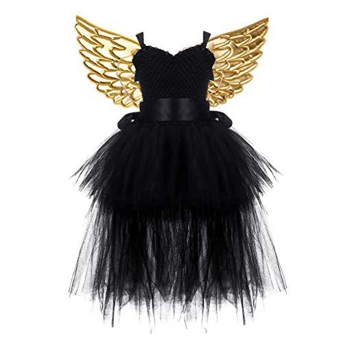 Golden Kostüm Girls Princess - Amosfun 1 Set Halloween Tutu Dress Suit Fairy Princess Golden Wing Mesh Tutu Dress Set Sleeveless Skirt Set for Girls Halloween Cosplay Party Black Size 2
