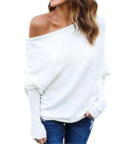 Damen Gestrickte Pullover Langen Ärmeln Bat Sleeves Casual Knit Pullover Off Shoulder Tops Weiß XL