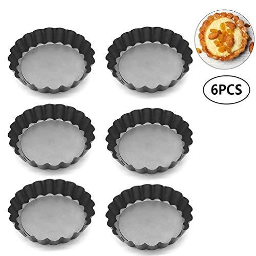 Freyamall 6 Stück Antihaft mit loser Unterseite Mini Tart Pie Pan Backform und Quicheform Quiche Pan Formen, Runde Geriffelte Tortenform Torte Pie Dosen Pan, 10 cm Bundt Form Pan