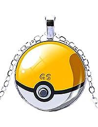 KIRALOVE Collar - Pokemon go - Poke Ball - Pokeball - Trampa - niños - Mujeres - Hombres - Unisex - bisutería - Amarillo - Blanco Pokemon go Pikachu Pokeball pokè