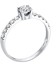 GIA Certified, Round Cut, Solitaire Diamond Ring in 14K Gold / White (1/2 ct, F Color, SI2 Clarity)