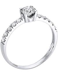 Diamant Ring 0.53 Ct W G/VS1 Round 18 Karat (750) Gelbgold (Ringgröße 48-63)