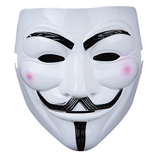 V wie Vendetta Maske,Guizen anonymous Guy Fawkes Maske für Erwachsene Superheld Halloween Karneval Horror Einheitsgröße Theater Kostüm( (Kostüme Clown Theater)