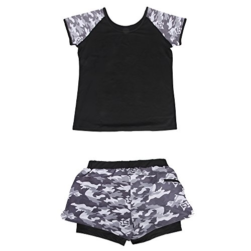Bonjanvye Womens Short Sleeved Top and Short Pants Suit Outfit Set for Women Training gray