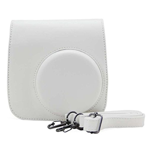 Vovotrade® PU pelle fotocamera borsa caso per Fujifilm Instax Mini8 Mini8s (Bianco)