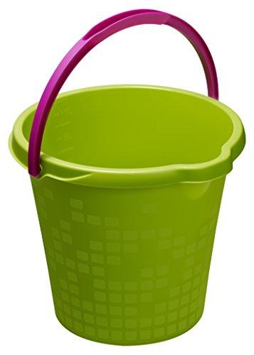 Rotho Haushalt Geometric, Skaleneimer aus Kunststoff in grün mit Henkel, Inhalt Eimer 12 Liter, ca. 34.3 x 33 x 27,5 cm Seau 12l, Plastique, Vert, 45 x 35 x 25 cm