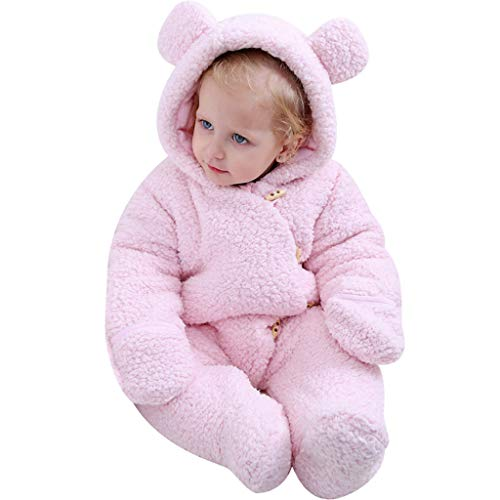 Baby Kapuze Strampler Overall Winter Outfits Jungen Mädchen Pyjama Säugling Onesie Kleinkind Süß Oberbekleidung Footies Rosa 6-12 Monate - Monate Overall 9