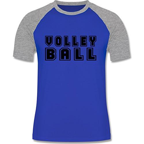 Shirtracer Volleyball - Volleyball Schriftzug - Herren Baseball Shirt Royalblau/Grau meliert