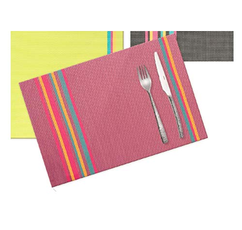 Visiodirect Lot de 12 Sets de Table Bayadère Fuschia - 45 x 30 cm