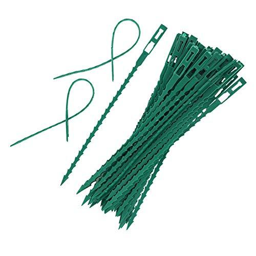 Sungpunet 50Pcs Verstellbarer Gartenpflanze Twist Krawatten Flexible Plastic Twist Binder Kabelbinder für Gartenpflanze Fastener Zurren Grün (Krawatten Flexible Twist)
