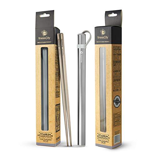 Baguettes en titane Extra-Léger Ultra Léger Professionnelle (Ti), Baguettes Livrées avec Étui en Aluminium de Qualité Exclusive Exclusif (Gris)