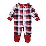 Familizo Père Mère Bébé Vêtements de Famille, Pyjamas D'impression de Vente Chaude de Noël a Placé le Chemisier + Pantalon de Treillis (18-24Mois, Blanc(Nouveau née Bébé))