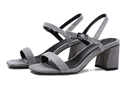 Frühjahr und Sommer Schuhe matt dicke hochhackigen Sandalen Wort offene Schuhe wilde Schnalle Grey