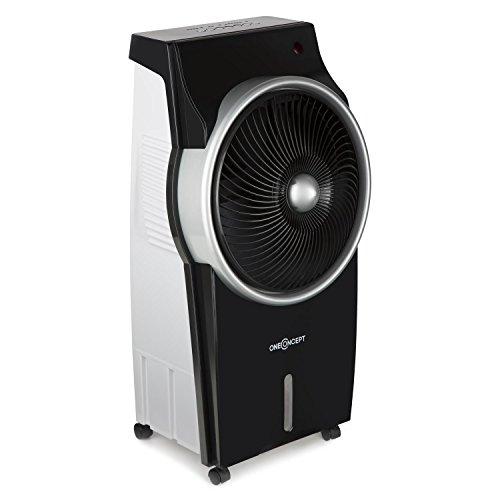 OneConcept Kingcool • Luftkühler • 3-in-1 Klimagerät • Ventilator • Oszillation • Ionisator • 95 W Leistungsaufnahme • bis zu 890 m³ Luftstrom • 8 L Wassertank • Abschalttimer • schwarz-silber