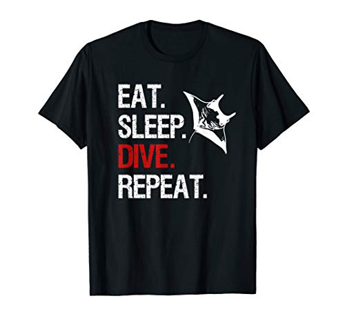 EAT SLEEP DIVE REPEAT GERÄTETAUCHEN APNOE TAUCHER MANTA RAY T-Shirt