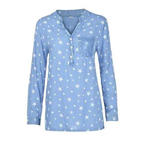 Für Kostüm Schwangere Känguru - Damen T-Shirt, MYMYG Spitze Printed Langarm V-Ausschnitt Tops Lose T-Shirt Bluse(F2-Blau,EU:46/CN-3XL)