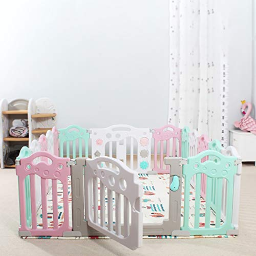 Baby Playpen HUYP Pet Fence Panels Baby Fence Play Area Children's Indoor Crawling Toy Safety Fence (color : Pink, Size : 12 small pieces)  HUYP