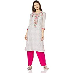 BIBA Women's Straight Kurta (THE COUR13008_Off White_34)
