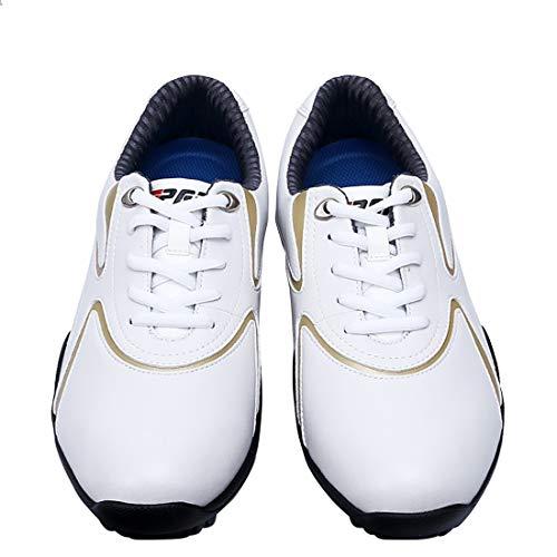 YaofaKitchenware Golfschuhe Spikes weniger Schuhe Wasserfestes Anti-Rutsch-Leichtgewicht Abriebfeste Multifunktions Für den Außenbereich (Color : White, Size : 40)