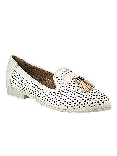 Cendriyon, Derbies blanches Résilles STELLA Chaussures Femme Blanc