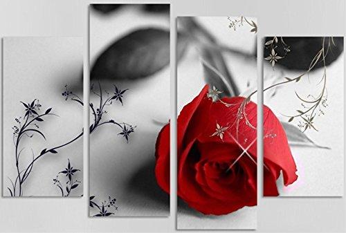 OBELLA Toile de peinture murale 4pièces   Rouge Rose   , posters contemporains, tirages de peinture à l'huile, images et photos sur toile pour maison, chambre à coucher, salon, décoration murale, cadeaux de Noël- Sans cadre
