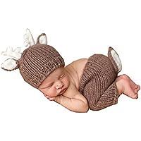 Jastorebonita Ciervo Disfraces para Bebé Fotografía Infantil Bebé Recién Nacido Ganchillo Beanie Café