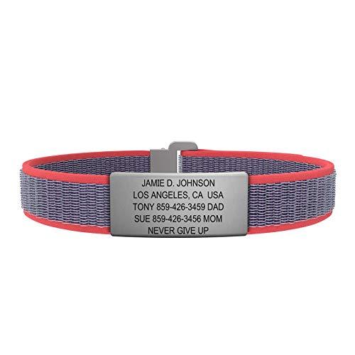 Route Bracelet d'identification–Le Poignet ID Sport–Inoxydable en Nylon–Bracelet...