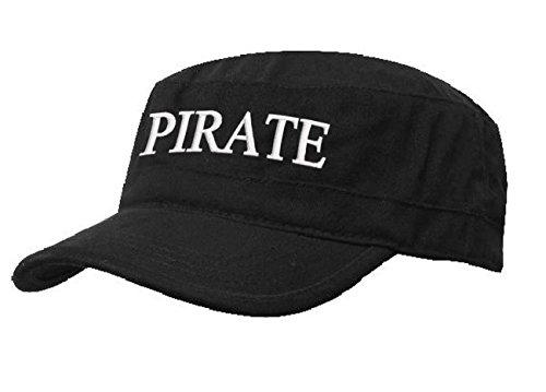 Kapitänsmütze Mütze Army Military Baseballmütze Cap Schiff Yacht Captain,First Mate,Crew,Cabin Boy,Pirate ( Pirate black white) (Bull Womens Black)