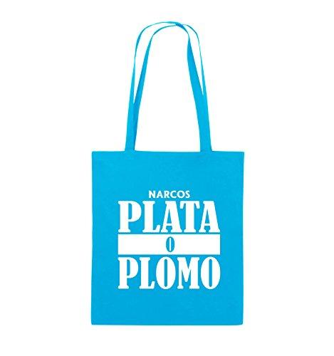 Comedy Bags - PLATA O PLOMO - NARCOS - Jutebeutel - lange Henkel - 38x42cm - Farbe: Schwarz / Silber Hellblau / Weiss