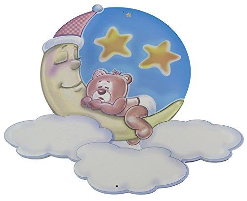 Geschenk zur Geburt - Teddy mit Mond, Sterne und Wolken als Wandbild aus Holz für das Kinderzimmer. Wanddeko für Mädchen und Jungen. Kann personalisiert werden als Erinnerung mit Namen und Daten der Geburt oder die Wünsche ans Baby - aus unserer Reihe Babygeschenke und Geschenkideen (Wandbild)