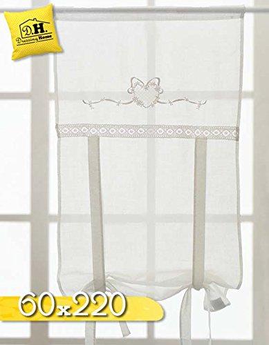 Rideau Store Enrouleur Shabby Chic et Romantique - Dentelle / Cœurs - 60x220 - Blanc - 100% Polyester