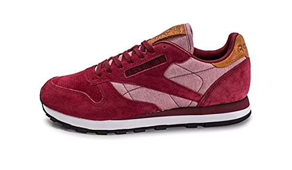 Reebok Classic Leather Chambray Bordeaux Rouge 45: